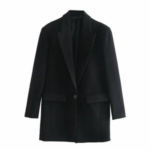 Women Solid Long Black Blazer Coat Vintage Notched Collar Pocket Fashion Female Casual Chic Tops 4M107 Women's Suits & Blazers