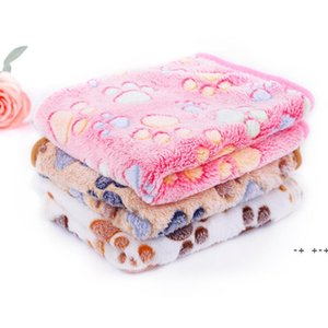 Soft Dog Bed with Cute Paw Prints for Kennels Reversible Fleece Crate Pet Mat Machine Washable Blankets SEAWAY FWF10409