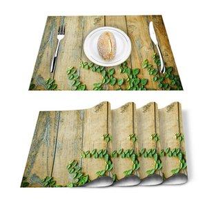 Table Runner 4 6pcs Summer Green Plants Wood Grain Kitchen Placemat Set Dining Mats Cotton Linen Pad Bowl Cup Mat Home Decor
