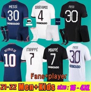 Messi Mbappe Jerseys Hakimi Sergio Ramos 21 22 Maillots de Futebol 2021 2022 Marquinhos Verratti Futebol Homens Kit Kit Kit Camisas Fardos Enfants Maillot Foot