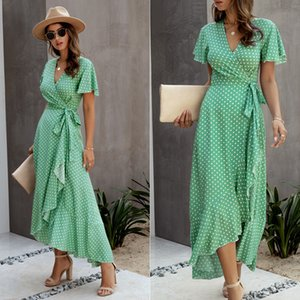 Summer Women Short Sleeve Print dots Dress V Neck Casual long Dresses woman slim fashion skirts