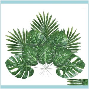 Decorative Flowers Wreaths Festive Supplies Home & Garden 48 Pieces 4 Kinds Artificial Palm With Faux Stems Tropical Plant Leaves Monstera F