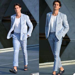 Летнее белье мужские смокинги жених носить две кнопки свадебные брюки костюмы деловые выпускные вечеринки пиджака (куртка + брюки)