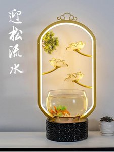 Aquariums Chinese Lotus Goldfish Bowl Small Desktop Lighting Creative Circulating Flowing Water Flooring Household Decoration Fish Tank
