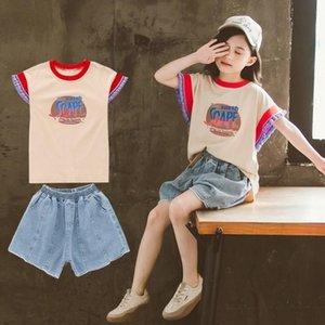 Girls Short Sleeve T-shirt Denim Shorts Two-piece Set
