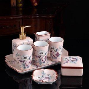 Bath Accessory Set European Style Bathroom Wash Toilet Five-piece Ceramic Supplies Cup Lotion Bottle Soap Jewelrybox Wedding Gift