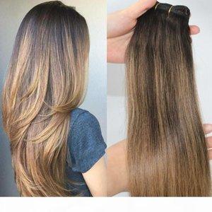 # 2 6 # الشعر البشري ملحقات balayage الضوء البني الداكن الشعر البشري نسج حزم برازيلية عذراء الشعر سميكة نهاية 100 غرام مجموعة واحدة