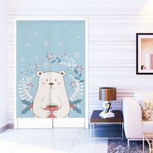 Hanging Curtain Cute Cartoon Bear Rabbit Elephant Middle Part Door Curtain Wardrobe Half Bedroom Shelter Decorative Blackout Curtain Q0327