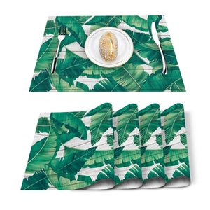 Table Runner 4 6pcs Tropical Plants Leaves Wooden Kitchen Placemat Set Dining Mats Cotton Linen Pad Bowl Cup Mat Home Decor