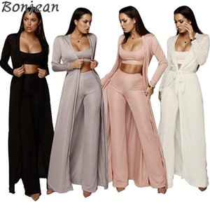 BONJEAN Autumn Sexy Two Piece Set Top And Pants Spaghetti Strap 3 Piece Set Women Bandage Party Outfits Romper Women Jumpsuit
