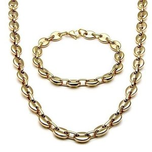 Earrings & Necklace Fashion Punk Wide Men And Women Alloy Coffee Bean Chain Bracelet Set