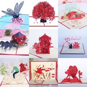 3D Flower LOVE Greeting Cards Romantic Pop Carriage Up Wedding Invitation Valentine's Day Lovers Blessing Postcards ss