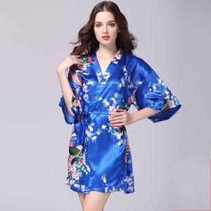 12 Renkler Bornoz Uyku Kıyafeti S-XXL Seksi kadın Japon İpek Kimono Robe Pijama Gecelik Pijama Çiçek Iç Çamaşırı 271 K2