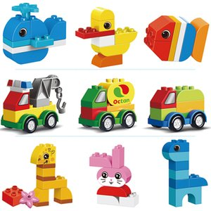 Childrens Toy Assembling Building Blocks Cartoon Shape Car Large Particle Building Blocks Baby DIY Assembling Building Blocks