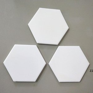 Creative Hexagon Ceramic Cork Coaster mat for Wooden Table Home Ceramics Decoration Cup Mats HWA7545