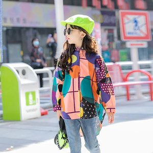 INS Fashions Big Girls T-shirts Printing Children Turn-down Collar Street Wears Spring Child Tops