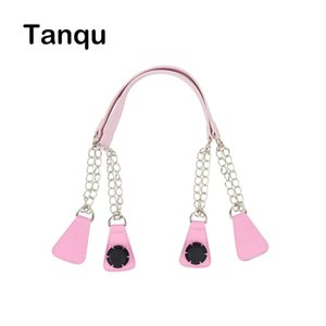 tanqu 1 Pair Long Leather PU Chain Handle with Angular Tear Drop End Double Metal Chain for O Bag for EVA Obag Women Bag Q0601