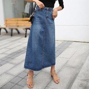 Урожай длинные джинсовые юбки для женщин Высокая талия Кнопка Карманы Джинсы плюс Размер Mid Calf Длина Maxi Женщина