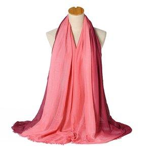 Дамы мода шарф градиент цвет ручной росписью мягкий шаль 17 цветов