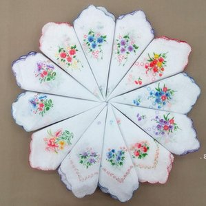 Handkerchief Floral Floral Moda Bordada Mulheres Handkerchief Flor Lady Hankies Mini Squarescarf Boutique Bolso Toalha BWC6852