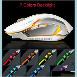 Est Rechargeable X7 Wireless Gamer Mouse 7 Colors Led Backlight 2.4Ghz Usb Optical Ergonomic Gaming Mouse For Pc Laptop With Retail Cb Eqpxo