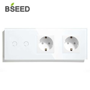 BSEED EU Standard 2 Gang 1 Way Touch Switch With Double Wall Socket Luxurious Black White Gold Crystal Glass Panel 3 Colors