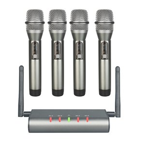 4-Channel Wireless Microphone System Quad UHF Mic 4 Handheld Mics Long Distance Fixed Frequency Microphones
