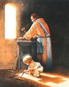 Jesús picos de uñas en la tienda de carpintero de Joseph enorme pintura al óleo sobre lienzo Decoración para el hogar Handcrafts / HD Pint Wall Art Fotos de arte de la pared 2104296
