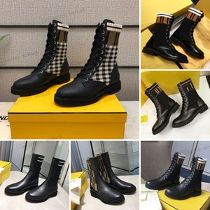 2021 Classic Rockoko Boots Knitted Stretch Martin Black Leather Knight lace-up chunky soled check low heel Women Short Boot Design Roma Ladies Casual Shoes Size 35-40
