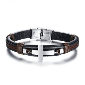 Black Brown Color Fashion Simple Men's Leather Weave Bangle Stainless Steel Cross Bracelet Watchband Jewelry Gift for Men Boys J418