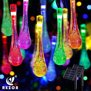 Strings LED Outdoor Water Drops Solar Lamp String Lights 5 6.5 7M 20 30 50 LEDs Fairy Holiday Christmas Party Garland Garden Waterproof