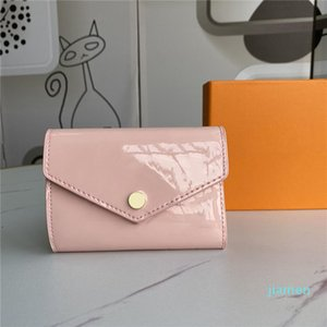 Designer- Patent Leather Short Wallet Fashion For Lady Shinny Card Holder Coin Purse Women Classic Zipper Pocket