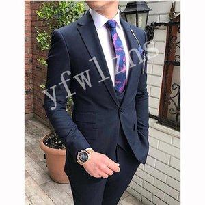 Classic One Button Wedding Tuxedos Notch Lapel Slim Fit Suits For Men Groomsmen Suit Prom Formal (Jacket+Pants+Vest+Tie) W801
