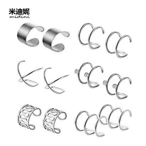 Корейский мода простые титановые стальные мужские и женские не дырки костный клип ложный ухо набор ногтей H2H8