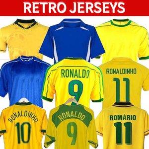 1998 Brasilien Fußball Jerseys 2002 Retro Hemden Carlos Romario Ronaldo Ronaldinho 2004 Camisa de Futebol 1994 Brasilien 2006 1982 Rivaldo Adriano 1988 2000 1957