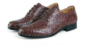 Autumn British leather men's shoes Trendy Crocodile pattern pointed toe 36-50
