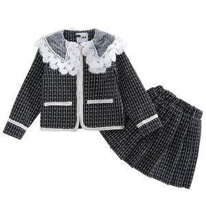Girls Sweater Sets Kids Clothing Children Clothes Autumn Winter Cotton Knitting Patterns Cardigan Coat Pleated Skirts 2Pcs B8342