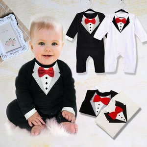 Cute Newborn Clothes Baby Kids Suit Boys new outfits Bowknot Gentleman Wireless Romper Cotton 0-36M