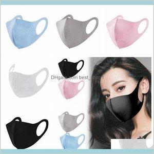 Accueil Jardin Organisation de ménage 5 couleurs anti-poussière anti-poussière masque de visage pour adultes respirant lavable réutilisable de la soie de glace 09uy2