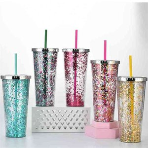 water cup sippy cups 24oz plastic straw cup flash powder cold drink electroplating cover Double layer Sequin decoration 20color G35SKYI