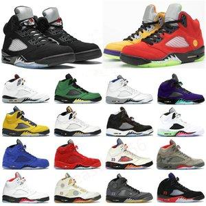 2021 Top Jumpman 5S Basketball Chaussures 5 Raging Bull Mens V Fire Rouge Ce que la Mousseline noire Sail Paris SE Oregon Hommes Sports Sneakers Formateurs Taille EUR 40-47
