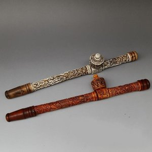 Wholesale Antique Ox Bone Smoking Barrels Tobacco Gun Small-Bowled Long-Stemmed (Tobacco) Pipe Dragon Pipo Chain Smoker Antique Collection O