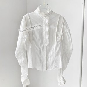 Women's Blouses & Shirts Ladies 100% Cotton Long Sleeve Blouse Shirt Top With Ruffled Detail