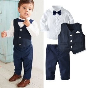 2021 Childrens Suits Baby Suit 3Pcs Set Kids Baby Boys Business Suit Solid Shirt+Vast+Pants Set For Boys For Formal Party 1-6 Ag