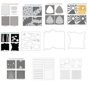 Painting Supplies Background Frame Bamboo Honeycomb Clouds Plastic Stencil For DIY Scrapbooking Embossing Paper Card Craft Template