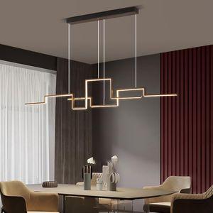Pendant Lamps Nordic Geometry Led Lights Black Alloy Lamp Living Dining Room Decor Hanging Light Drop Suspension Luminaire