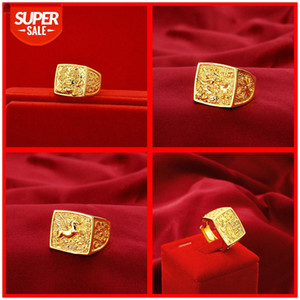 Men's models every year there are more than horses to success dragon ring domineering open Buddha gold color koi fish Vietnamese sand #UD8z