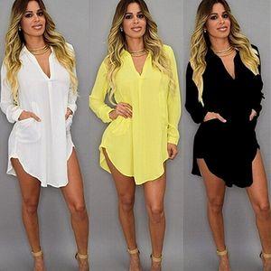 Mulheres sólidas chiffon blusa camisa mini vestido bolso v neck casual solto de manga longa blusa tops verão praia desgaste encobrir vestido 210324