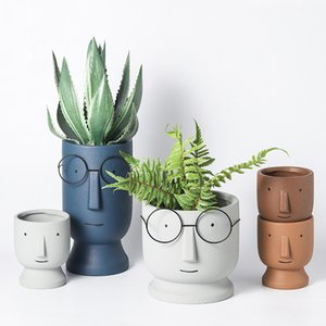 Creative Flower Pot With Glasses Abstract Character Figurines Ceramic Pots For Plants Home Garden Decoration Planter