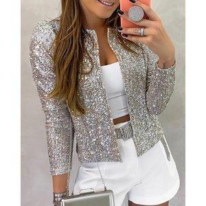 Women's Jackets 2021 Fashion Sequin Women Glitter Long Sleeve Short Coats Elegant Spring Outwear Office Ladies Solid Streetwear SJ5581V